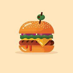 Hamburger designed by Jordan Wilson. the global community for designers and creative professionals. Creative Poster Design, Creative Logo, Flat Illustration, Food Illustrations, Logo Design Inspiration, Icon Design, Greek Art, Logo Food, Motion Design