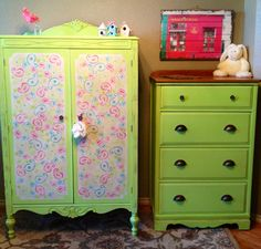 Vintage armoire and dresser redo for girls bedroom. Paisley stencil.