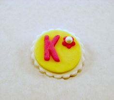 Fondant Cupcake, Cake,Cookie Toppers with your initial on them. Set of 12 (one dozen)