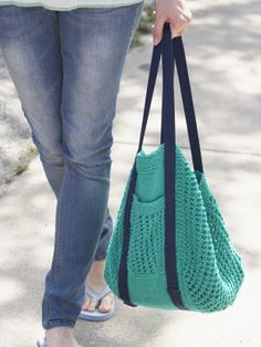 Go Green Market Bag | Yarn | Free Knitting Patterns | Crochet Patterns | Yarnspirations - Perfect! only needs 4 skeins of sugar and cream!