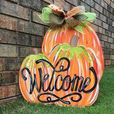 Pumpkin Door Hanger, Fall Door Hanger, Welcome Door Hanger by JustPlainADoorAble on Etsy https://www.etsy.com/listing/245097669/pumpkin-door-hanger-fall-door-hanger
