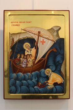 Byzantine Art, Byzantine Icons, Calming The Storm, Illumination Art, Saint Nicholas, Religious Icons, Medieval Art, Orthodox Icons, Garden Of Earthly Delights