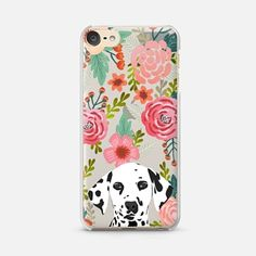 iPod Touch 6 Case Dalmatian cute black and white spotted puppy floral flowers transparent cell phone case hipster dog gifts