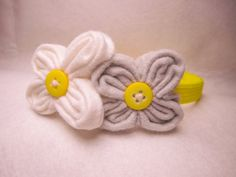 Felt flower and button headband by SewVivid on Etsy, £5.00