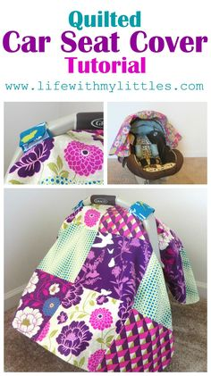 Quilted Car Seat Cover Tutorial – Life With My Littles – Sewing Projects Sewing Projects For Kids, Sewing For Kids, Sewing Hacks, Sewing Tutorials, Sewing Ideas, Sewing Tips, Sewing Crafts, Sewing Patterns, Easy Baby Blanket