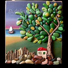 Taşlardan  tablo yapılmış  cok hos