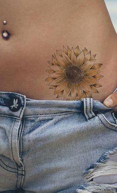 Delicate Sunflower Hip Tattoo Ideas for Women - Beautiful Flower Hip Tat - www.MyBodiArt.com #tattoos