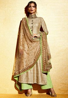 Embroidered Art Khadi Silk Straight Suit in Beige