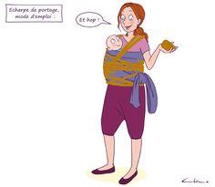 Sécurité de bébé avant tout ! par Céline Théraulaz sur Guide Maman Bébé Celine, Baby Wrap Carrier, Future Maman, Mom And Baby, Powerful Women, Baby Wearing, Grey Stripes, Illustrations, Guide