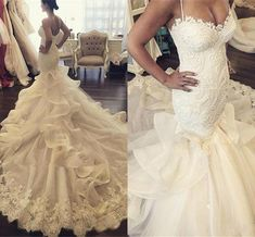 2016 New Sexy Mermaid Wedding Dresses Spaghetti Straps Lace Appliques Ruffles Chapel Train Button Back Plus Size Formal Cheap Bridal Dress Online with $179.9/Piece on Haiyan4419's Store | DHgate.com