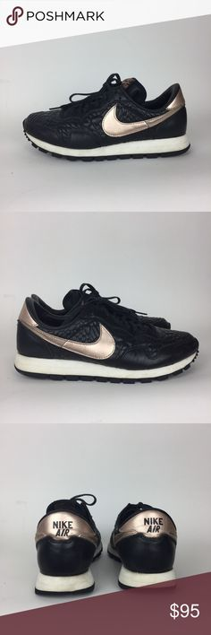 Nike | RARE Rose Gold Black Pegasus Sneakers Excellent pre-owned condition. Some wear on right heel. Tread in excellent condition. Logo is worn on inside soles. Black pebbled leather and rose gold swoosh. Size 8 /25cm. Nike Shoes Sneakers
