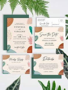 Trendy and Modern Abstract Tropical Shapes Invitation Suite - with items from invitation to RSVP cards, Thank You Cards, Table Cards, Address Labels, Sign Posters, and more. Summer Wedding Invitations, Wedding Invitation Design, Custom Invitations, Table Cards, Abstract Shapes, Address Labels, Wow Products, Wedding Themes, Thank You Cards