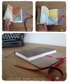 Maatwerk: notitieboekje met kaarten van Nepal als schutbladen. Ook een notitieboek met atlaskaarten? mail info@schrijf-boek-winkel.nl