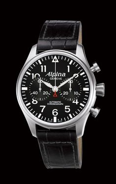 Alpina Aviation Chronograph (44mm).  Big. Beautiful.  Looks like it came straight from a vintage airplane ~$2,000