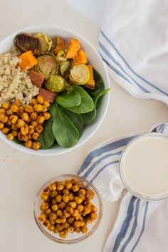 Roasted Chickpeas, Garlic Tahini Dressing, and My Favourite Quinoa Power Bowl - Savour and Shine