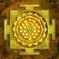 Mandala Mixed Media - Sri Yantra Gold Stone by Lila Shravani