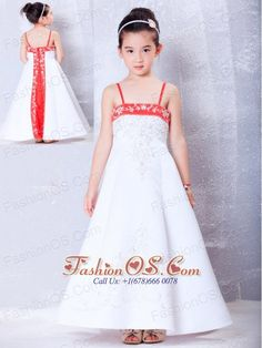 Lovely White and Red A-line Straps Embroidery Flower Girl Dress Ankle-length Satin- $84.65  http://www.fashionos.com  Bring out the princess in your little girl with this lovely dress. It features spaghetti straps and a wonderful bodice heavily decorated with embroidery. A red band encrusted with embroidery accents the bustline. The red color in the midsection of the back specializes the dress greatly. Everyone will love this stunning dress!
