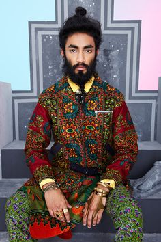It's not very often I covet a menswear collection. But then not too many menswear collctions look as glorious as this one from DENT de MAN The prints, the colours, the shapes, the jewels, the sandals - I'll take one. Man Bun Hairstyles, Protective Hairstyles, Men's Hairstyle, Hairstyles Haircuts, Fashion Moda, Mens Fashion, Fashion Menswear, Stylish Menswear, Batik Fashion