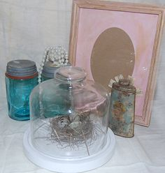 Glass Display Cloche with Wooden BaseShabby by PenelopesTreasures, $18.00
