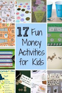 17 Fun Money Activities for Kids: Try these 17 money activities for kids to teach them the value of coins and dollars. Money Activities with Kids Learning Activities, Kids Learning, Activities For Kids, Outdoor Activities, Drawing Activities, Stem Learning, Nature Activities, Camping Activities, Outdoor Games