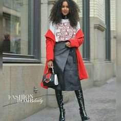 Street Style Files! A bold red coat, graphic tee, and wrap skirt was the go-to look for @salemindrias at #OsloFashionWeek. Photographed by @davidnyanzi . Are you feeling this look? #instafashion #style #instastyle #fashionbombdaily #celebritystyle #fashion #ofwgkta