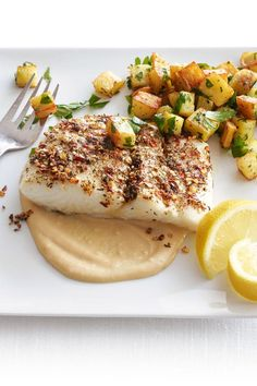 Recipes for Roasted halibut with tahini sauce that you will be love it. Choose from hundreds of Roasted halibut with tahini sauce recipes! Sauce Recipes, Fish Recipes, Seafood Recipes, Cooking Recipes, Recipes With Tahini Sauce, Halibut Recipes, Fresh Seafood, Fish And Seafood, Vegans
