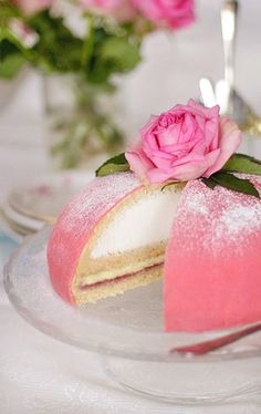 Pink Swedish princess cake, wedding? Its a Princess cake, or Swedish Wedding cake, and its my favorite!! Sponge cake, with a layer of raspberry, pastry cream, with whipped cream on top, covered with marzipan, its the best cake in the world!!