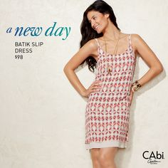Fun and Flirty is this CAbi Spring 14' limited edition Batik Slip Dress. Order with me by April 14th to make sure you get this item.