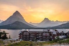 Glacier National Park - Sunset at the Many Glacier Hotel.