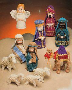 Nativity Set Crochet Pattern Donkey Cow Sheep All the Gang even a Camel ! - Sheep - Nativity Set Crochet Pattern Donkey Cow Sheep All the Gang even a Camel ! Vintage Crochet Patterns, Crotchet Patterns, Knitting Patterns, Christmas Nativity, Noel Christmas, Crochet Christmas, The Birth Of Christ, Kids Slippers, Sheep And Lamb