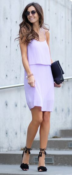 Purple Pleated Dress & Black Clutch & Black Sandals