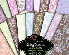 Damask Digital Backgrounds, damask digital paper, damask printable background, pastel damask patterns. $7.00, via Etsy.