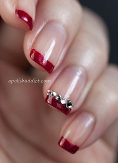 Christmas nails! #rhinestone #frenchtips #red
