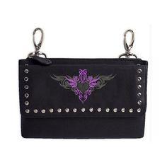Genuine Leather Belt Bag - Hip Purse - Studded - Purple Heart Biker / Motorcycle…