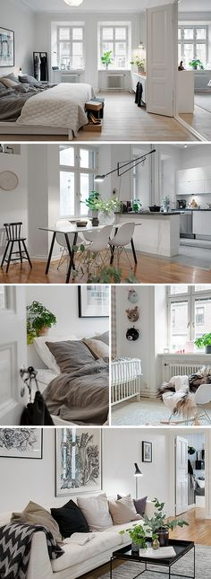 Scandinavian design, white, green and wood #scandinavia