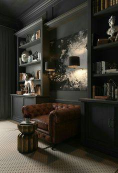 Contemporary Home Office Design Ideas - Browse pictures of contemporary office. Discover motivation for your trendy home office design with ideas for decoration, storage and also furniture. Home Office Design, Home Office Decor, Home Interior Design, House Design, Masculine Office Decor, Office Designs, Office Ideas, Men Home Decor, Masculine Interior