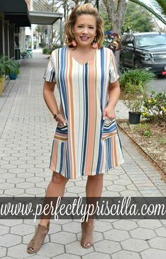 Still A Believer Striped Dress - Multi - Perfectly Priscilla BoutiqueShop plus size dresses online with Perfectly Priscilla. Browse Maxi, summer, casual dresses and more!Look and feel your best with our trendy plus size clothing, with current fashion Trendy Plus Size Clothing, Plus Size Fashion For Women, Plus Size Dresses, Plus Size Outfits, Diy Dress, Dress Outfits, Casual Dresses, Fashion Outfits, Diy Outfits