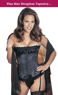 Plus Size Strapless Tapestry Corset Lingerie. Plus size corsets definitely show off curves and this tapestry corset will put the va-va-voom in your sexy lingerie wardrobe. The corset includes a satin tapestry brocade design with boning throughout to create an hourglass figure. The front of the corset includes a hook and eye closure and the back includes a lace up design for the best fit. The corset is accented with Venice lace trim on the top and bottom. Garters are made to be adjustable…
