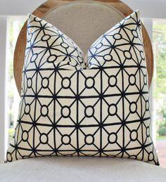 Black Geometric Pillow -Decorative Pillow Cover - Black Creme Lattice Trellis Pillow - Moroccan Pillow- Designer Pillow Cover - Throw Pillow