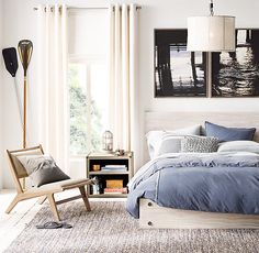 RH TEEN's Bowen Platform Bed:Evoking a rustic sensibility, our low-profile platform bed is crafted from weathered wood that has been whitewashed by hand. Oversized black metal bolts lend an industrial, decorative accent.