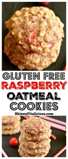 These soft and chewy HealthyRaspberry Oatmeal Cookiesare loadedwith whole grains and dancingwith raspberries. With no refinedsugar, these charming goodies make anirresistible treat! Gluten Free + Low Calorie