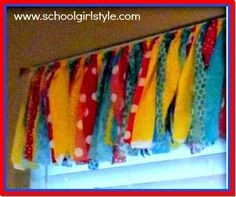 Seuss Inspired Classroom- looks like strips of material tied in a knot around the curtain rod to make curtains. Classroom Decor Themes, Classroom Supplies, New Classroom, Classroom Design, Classroom Organization, Classroom Ideas, Carnival Classroom, Preschool Classroom, Dr. Seuss