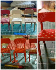 Copy if a Lundby chair in balsa wood and wood from a cigarbox.