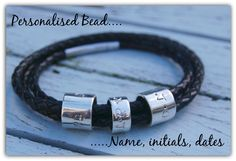 Black Leather Bracelet, Beaded Wrap Bracelets, Braided Leather, Hand Stamped, Sterling Silver Jewelry, Initials, How To Memorize Things, Jewelry Design, Range