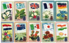"vintage Coles swap trading cards ""Flags of the World"" Olympics series 2 of 3 pics"