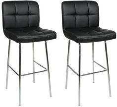 Pair Algoro Chrome and Padded Kitchen Breakfast Bar Stools Fixed Height Various Colours 4 Leg Frame