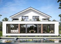 A picture of a house with a dreamlike layout: Concept-M The ground floor opens up via a continuous hallway. Left hand the stunningly large living Dream Home Design, Modern House Design, Modern Architecture House, Architecture Design, Casa Atrium, Square House Plans, Living Haus, Flat Roof House, House Extension Design