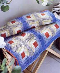 Log cabin knit blanket/quilt....bet this would be comfy and soft!!