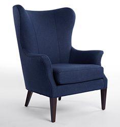 Clinton Chair Navy Wool Tweed D0813