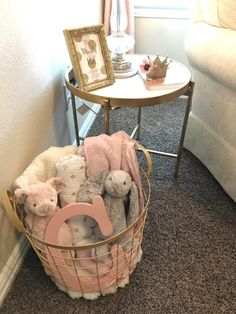 White, Gold & Blush Pink Nursery What could be better than a gold basket full of bunnies and piggies?What could be better than a gold basket full of bunnies and piggies? Baby Bedroom, Baby Room Decor, Nursery Room, Baby Girl Nursery Decor, Room Baby, Gold Kindergarten, White Nursery, Pink Gold Nursery, Blush Nursery